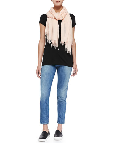 Solid Little Boy Tee, Fringed Scarf & Mason Slim Cropped Jeans