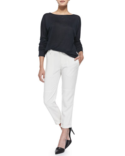 Long-Sleeve Sweater with Piping & Cuffed Twill Cargo Pants