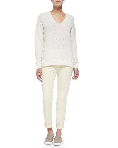 Cashmere Ribbed V-Neck Sweater & Rolled-Cuff Boyfriend Trousers