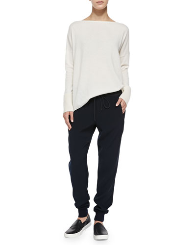 Ottoman Ribbed-Cuff Knit Sweater & Pull-On Drawstring Jogger Pants