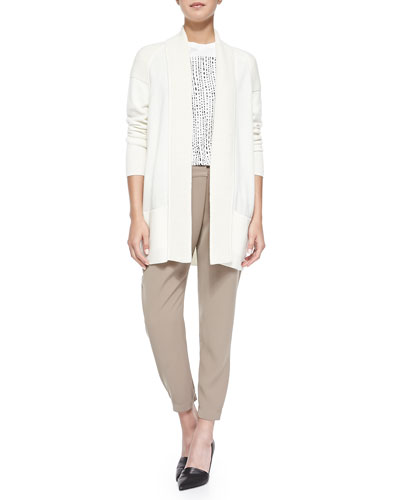 Cashmere-Blend Shawl Cardigan, Short-Sleeve Tee W/ Tribal-Print Square & Leather-Trim Wrap-Waist Pants