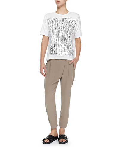 Short-Sleeve Tee W/ Tribal-Print Square & Leather-Trim Wrap-Waist Pants