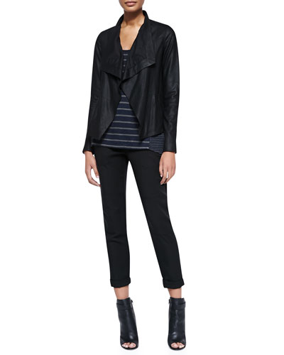 Drape-Front Leather Jacket, Mixed-Stripe Linen Tank & Twill Cuffed Relaxed Pants