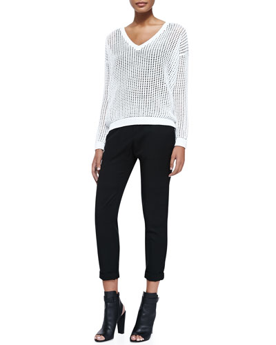 Grid Mesh V-Neck Sweater & Twill Cuffed Relaxed Pants