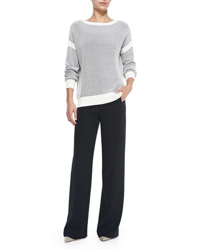 Two-Tone Perforated Knit Sweater & Sailor-Button Wide-Leg Pants