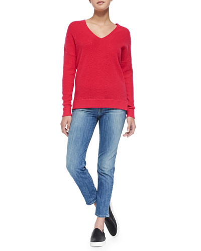 Cashmere Ribbed V-Neck Sweater & Mason Slim Cropped Jeans