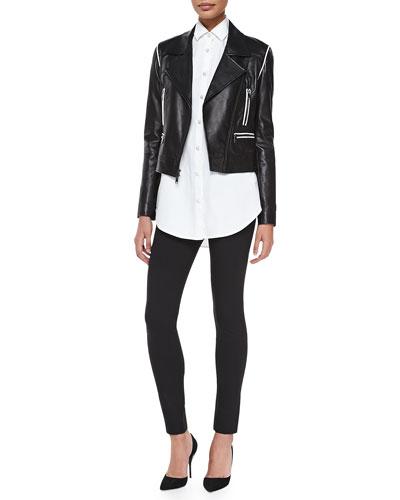 Cropped Leather Zip Moto Jacket, Long-Sleeve Oversized Button-Through Shirt ...