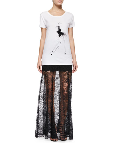 Party Girl Tee W/ Feathers & Mini Skirt W/ Long Lace Overlay ...