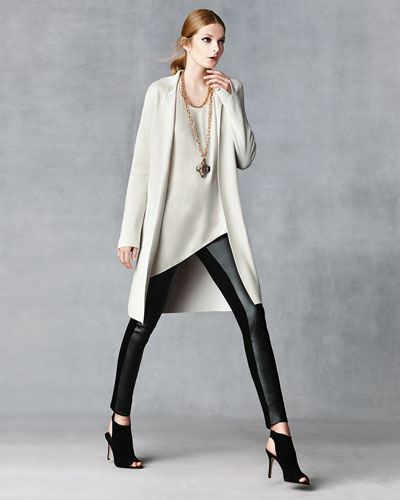 Long Drama Jacket, Draped Shell, & Leather-Blocked Leggings