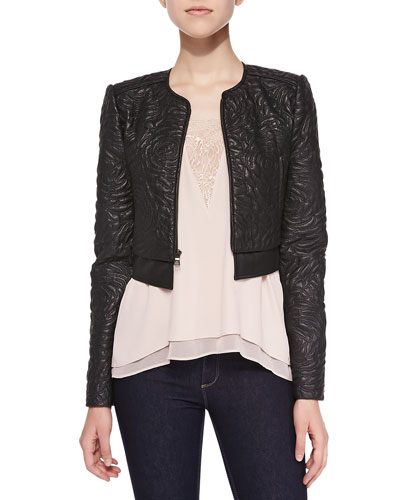 Duke Floral-Embroidered Faux Leather Jacket & Mishelle Tank with Lace Inset