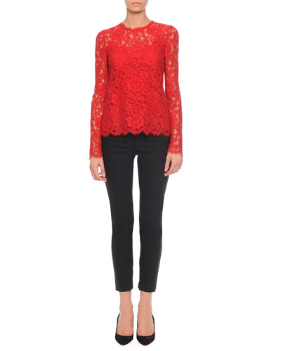 Jewel-Neck Long-Sleeve Lace Top & High-Waist Stretch-Wool Pants