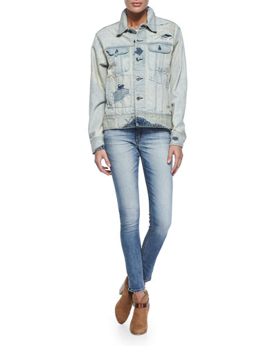 Surf Distressed Boyfriend Jean Jacket & Surf Skinny Mid-Rise Jeans