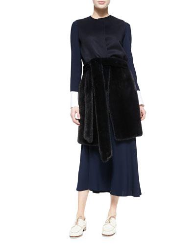 Peekaboo-Cuffed Blouse, Long Bias-Cut Skirt & Long Mink Vest with Fur Belt ...