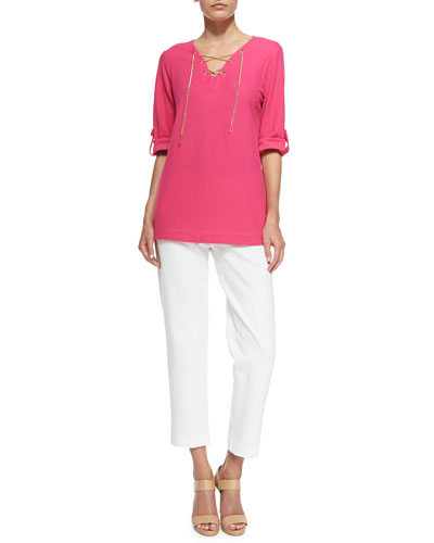 Cotton Pique Lace-Up Tunic & Ponte Slim Ankle Pants, Petite