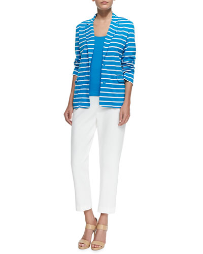 Striped Knit Jacket, Cotton Tank & Ponte Slim Ankle Pants, Petite