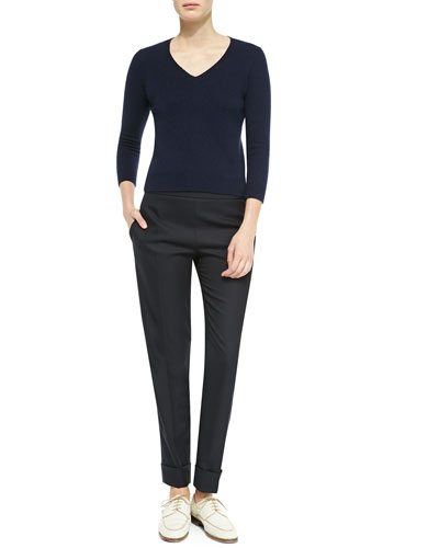 Wool/Cashmere Fitted V-Neck Sweater & Large-Cuff Wool-Blend Skinny Pants