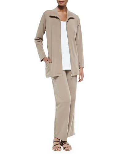 Long Knit Zip Jacket, Cotton Interlock Tank & Full-Length Jog Pants, Petite