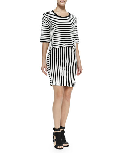 Oasis Striped Knit Top & Kiki Striped Knit Pencil Skirt