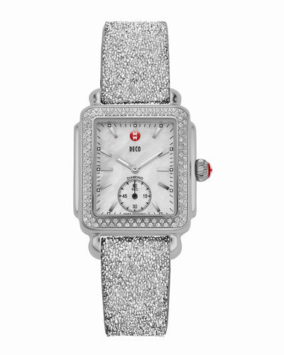 Deco 16 Stainless Diamond-Bezel Watch Head & 16mm Crystal-Covered Leather Strap