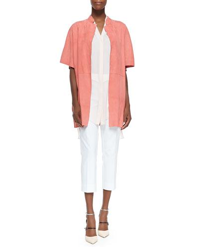 Delilah Short-Sleeve Suede Jacket, Hayden Blush Tunic & Juiliette Cropped Pants