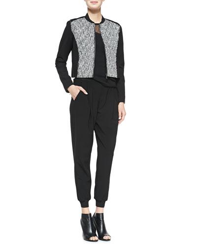 Cleary Tweed Boxy Jacket, Kaori Sweater with Mesh & Presley Crepe Pants ...