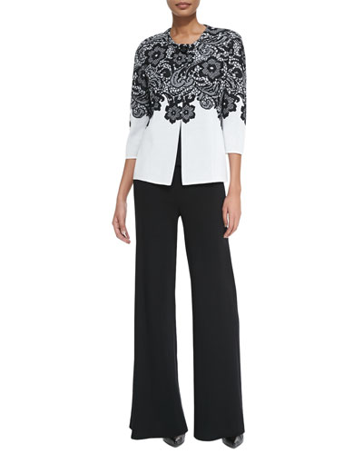 3/4-Sleeve Lace-Print Jacket, Scoop-Neck Knit Tank & Washable Wide-Leg ...