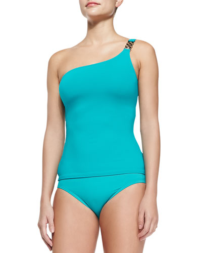 Watchband-Strap One-Shoulder Tankini Top & Classic Swim Bottom