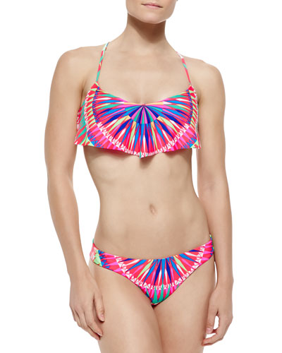 Printed Strappy Flutter Bikini Top & Reversible Low-Rise Swim Bottom