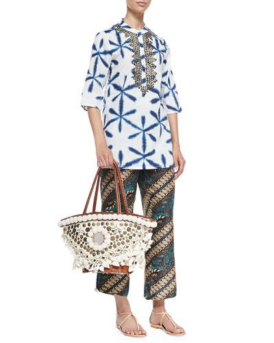 Jasmine Tie-Dye Bead-Neck Tunic, Goa Printed Silk Pants & Medium Tuk Tuk ...