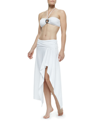 Draped Jersey Bandeau Bikini Two-Piece & Fold-Over Arched Coverup Skirt