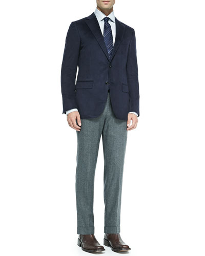 Silk Two-Button Jacket, Woven Multi Color Dot Tie & Tic Flannel Trousers ...