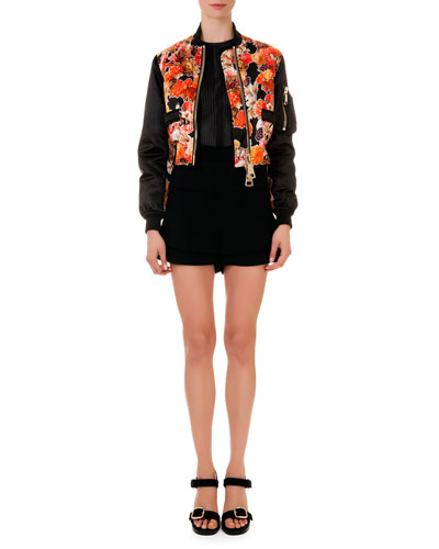 Floral-Print Oversize-Zip Cropped Jacket, Mesh-Knit Round-Neck Top & ...