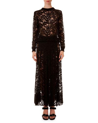 Crewneck Sheer Lace Top & Long Skirt