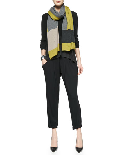 Long-Sleeve Stretch Knit Top, Merino Jersey Colorblock Scarf & Slouchy ...