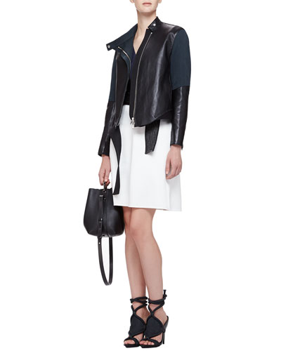Judo Leather/Silk Asymmetric Jacket & Judo Belted Cutout Dress