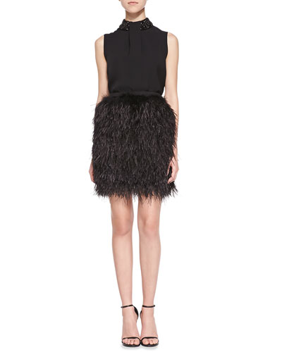 Yves Sleeveless Top with Beaded Neck & Lila Ostrich Feather Mini Skirt ...