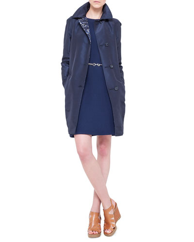 Chefchaouen-Print & Faille Reversible Jacket, Double-Faced Wool Crepe Dress ...