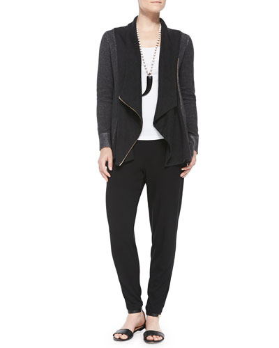 Draped Organic Cotton Zip Cardigan, Organic Cotton Slim Tank & Slouchy Tapered Pants