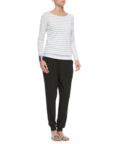 Long-Sleeve Striped Tee, Organic Cotton Slim Tank & Cozy Slouchy Ankle Pants