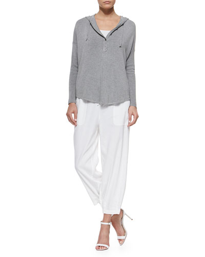 Hooded Henley Poncho Top, Organic Cotton Slim Tank & Drawstring-Waist Slouchy Capri Pants