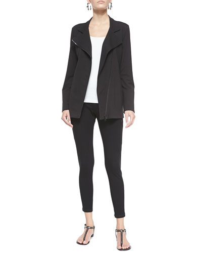 Organic Stretch Long Moto Jacket, Slim Tank & Stretch Skinny Pants with Zippers
