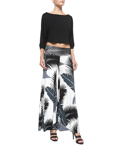 Tamika Cropped Top & Tropical-Print Wide-Leg Pants
