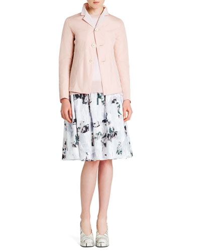 Reversible Tech/Cotton Three-Button Jacket, Ribbed-Trim Short-Sleeve Sweater & Abstract-Print Elastic-Waist Cotton Skirt
