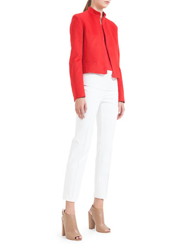 Mandarin-Collar Wool Zip Jacket, Colorblock Pleated Silk Blouse & Franca ...