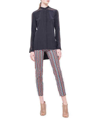 Band-Collar Sheer-Shoulder Silk Blouse & Franca Micro Record-Print Ankle Pants