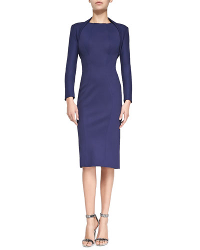 Stretch-Jersey Bolette & Sleeveless Jewel-Neck Fitted Dress