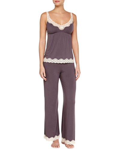 Lady Godiva Lace-Trim Lounge Camisole & Pants, Pebble/Beige