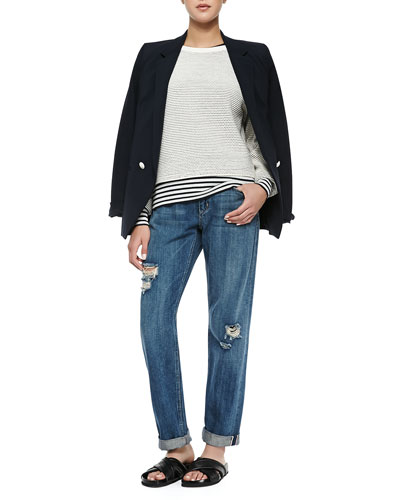 Elkaey Contrast-Button Crepe Blazer, Tamrist Striped Puckered Top, Mirzi ...