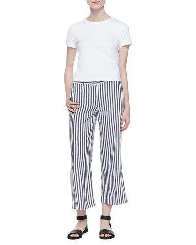 Cropped Crewneck Classic Tee & Inza Striped Wide-Leg Pants