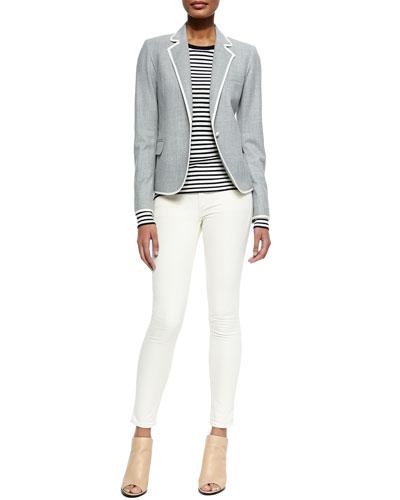 Felisity Contrast-Trim Suiting Blazer, Mirzi Striped Knit Wool Top & Billy ...